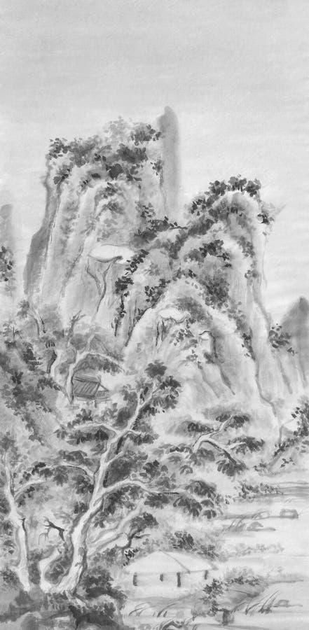 Pintura chinesa da tinta da paisagem das montanhas fotos de stock