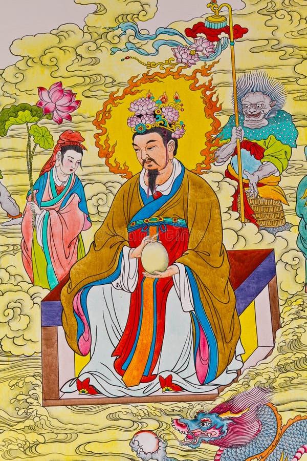 Pintura chinesa da tradição na parede chinesa do templo ilustração do vetor