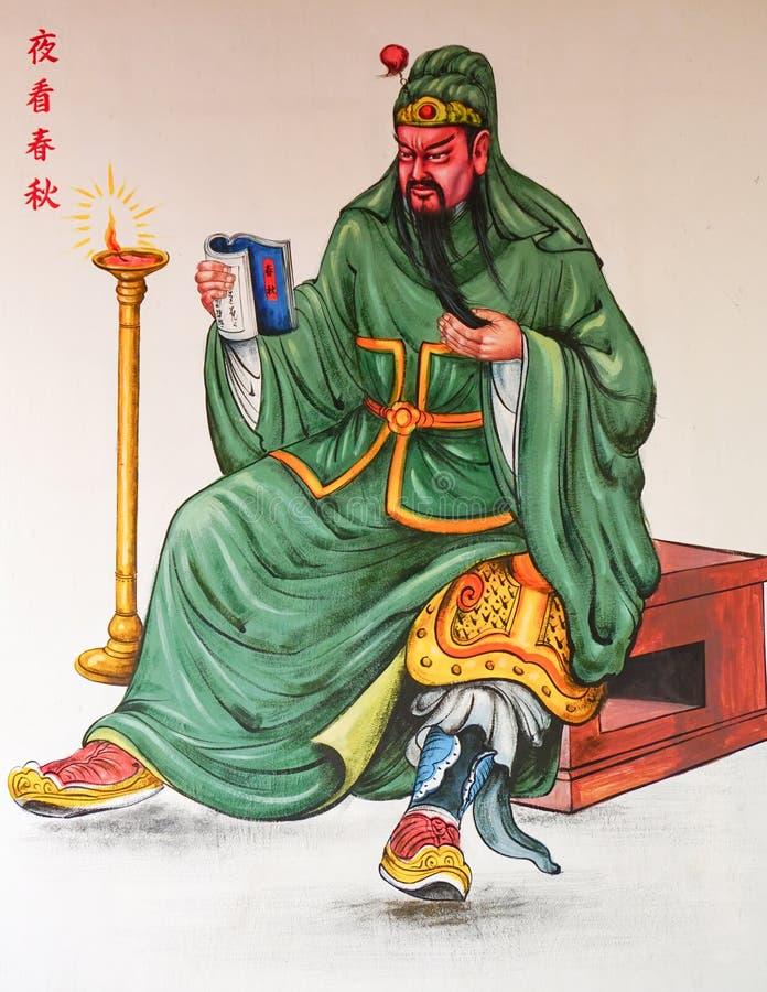 Pintura chinesa da tradição no templo chinês imagens de stock