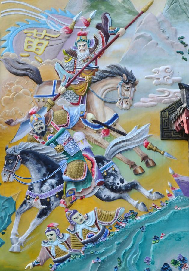 Pintura chinesa do exército chinês antigo imagens de stock