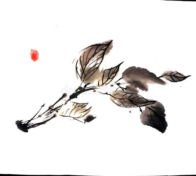 Pintura chinesa do ramo de árvore a mão livre ilustração stock