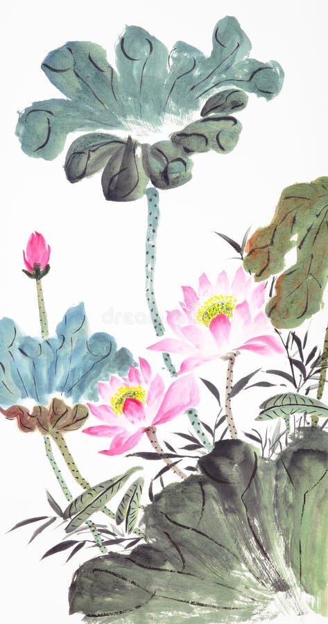 Pintura chinesa lótus-Tradicional abstrata foto de stock royalty free