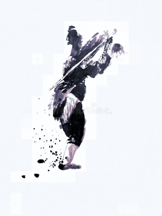 Pintura chinesa ou japonesa da tinta de um mestre do kung-fu foto de stock