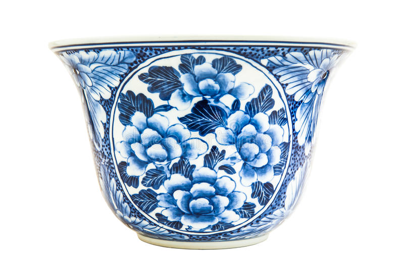 Pintura chinesa velha do estilo do teste padrão de flores na bacia cerâmica imagens de stock royalty free