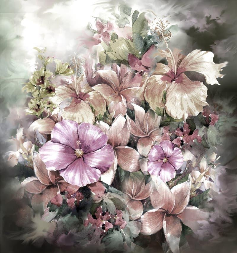 Pintura colorida abstracta de la acuarela de las flores Primavera multicolora en naturaleza ilustración del vector