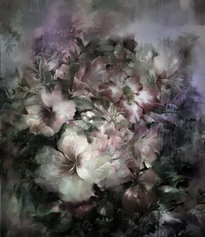 Pintura colorida abstrata da aquarela das flores Mola ilustração do vetor