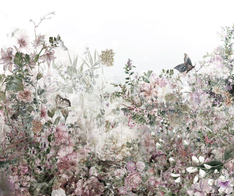 Pintura colorida abstrata da aquarela das flores Mola colorido ilustração royalty free