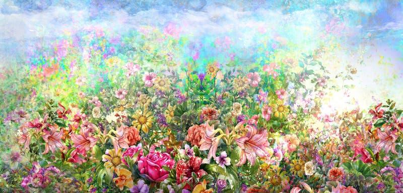 Pintura colorida abstrata da aquarela das flores Mola colorido na natureza ilustração do vetor
