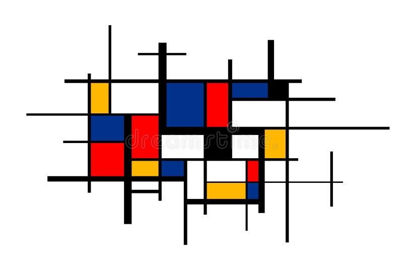 Pintura colorida abstrata no estilo de Piet Mondrian, fundo artístico largo ilustração do vetor
