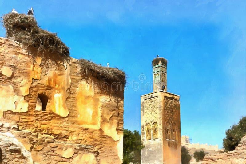 Pintura colorida das ruínas romanas e da necrópolis de Marinid imagens de stock royalty free