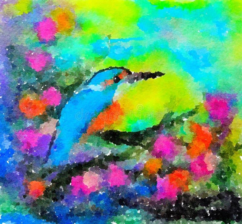 Pintura colorida del watercolour Martín pescador en rama de florecimiento libre illustration