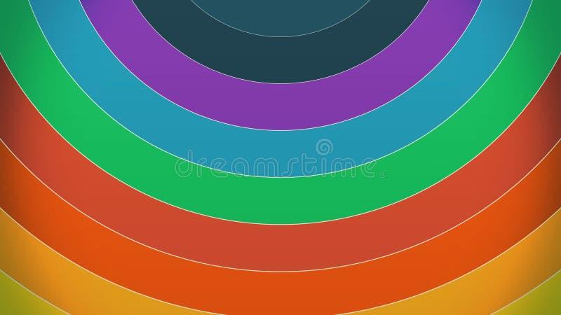 A pintura colorida do arco-íris curva o giro com um espectro das cores vibrantes que giram em uma definição alta do cgi multicolo ilustração stock