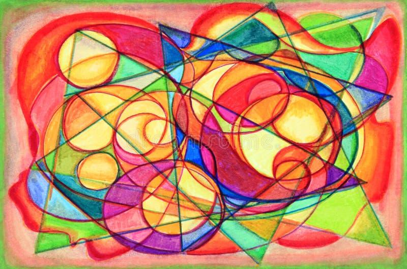 Pintura colorida do sumário do Cubist ilustração stock