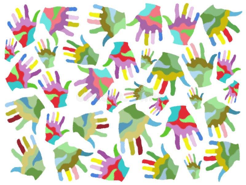 A pintura colorida entrega o fundo sem emenda ilustração stock