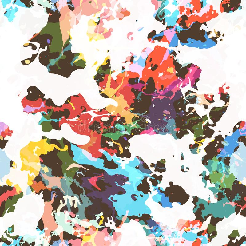 A pintura colorida espirra Teste padrão sem emenda com pontos e divórcios ilustração do vetor