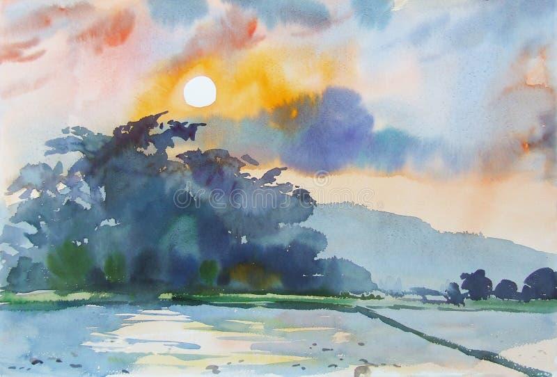Pintura colorido de la montaña y de la emoción en fondo de la puesta del sol ilustración del vector