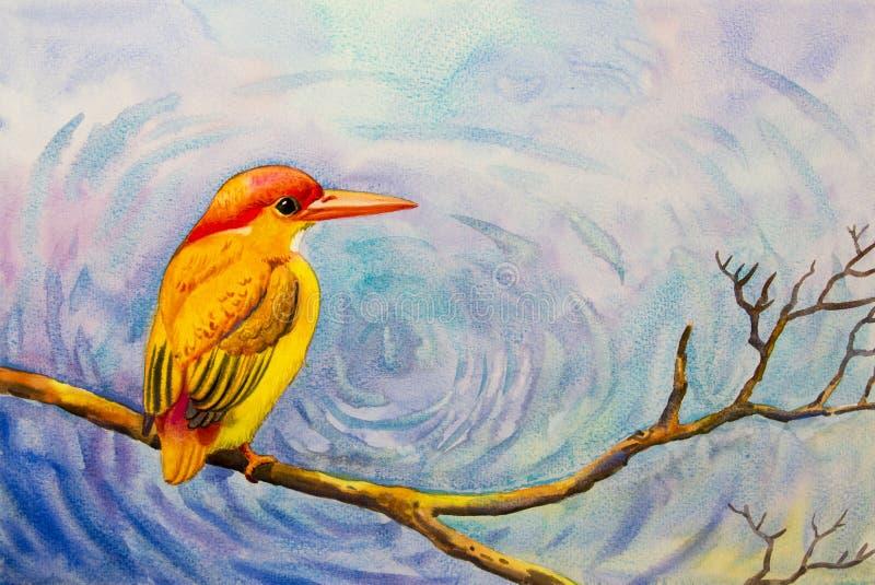 Pintura colorido do pássaro amarelo sozinho em um ramo ilustração do vetor