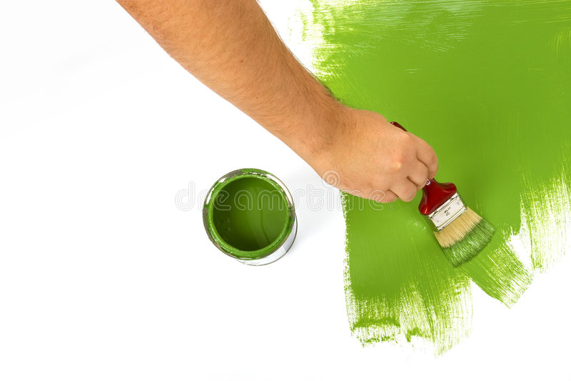 Pintura com pintura verde imagens de stock