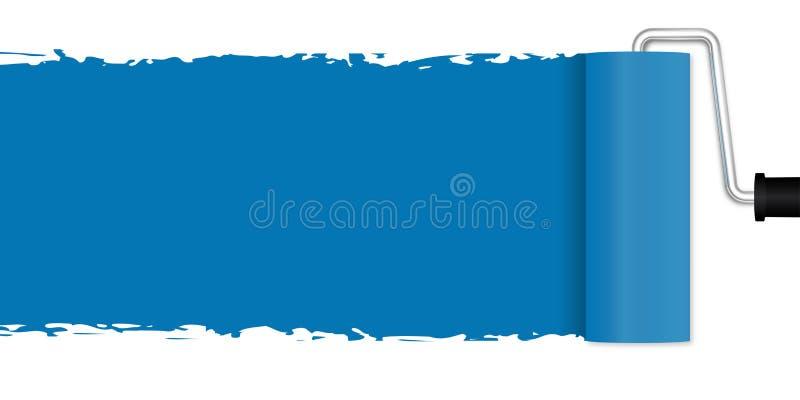 Pintura com rolo de pintura - azul ilustração stock
