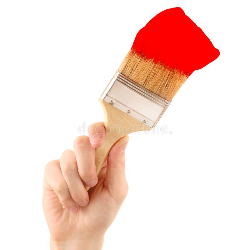 Pintura con el cepillo rojo foto de archivo libre de regalías
