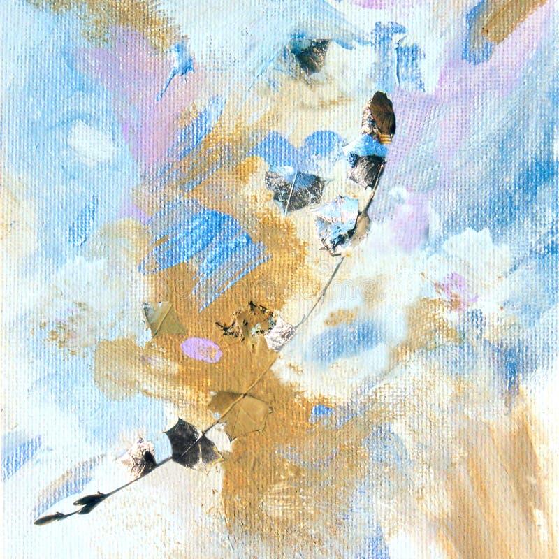 Pintura con la hoja de oro y la ramita stock de ilustración