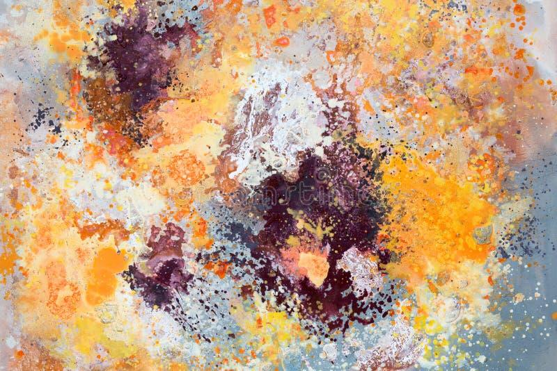 Pintura cor-de-rosa, amarela e alaranjada da arte abstrato ilustração do vetor