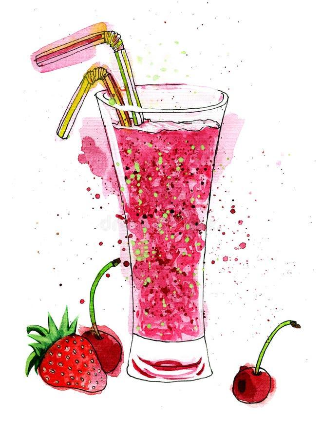 Pintura cor-de-rosa brilhante da aquarela do refrescamento ilustração royalty free