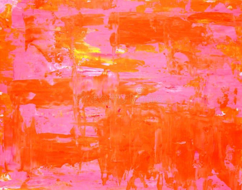 Pintura cor-de-rosa e alaranjada da arte abstracta fotos de stock