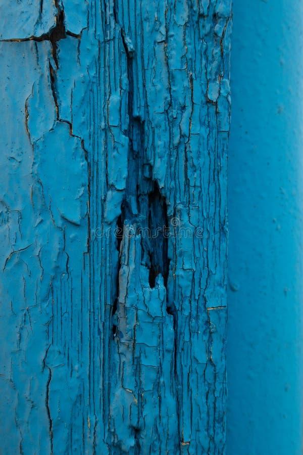 Pintura crepitada na parede de madeira azul velha fotos de stock