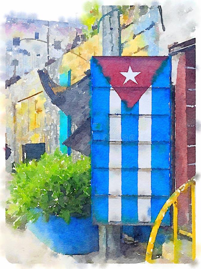 Pintura cubana de la bandera en la puerta stock de ilustración