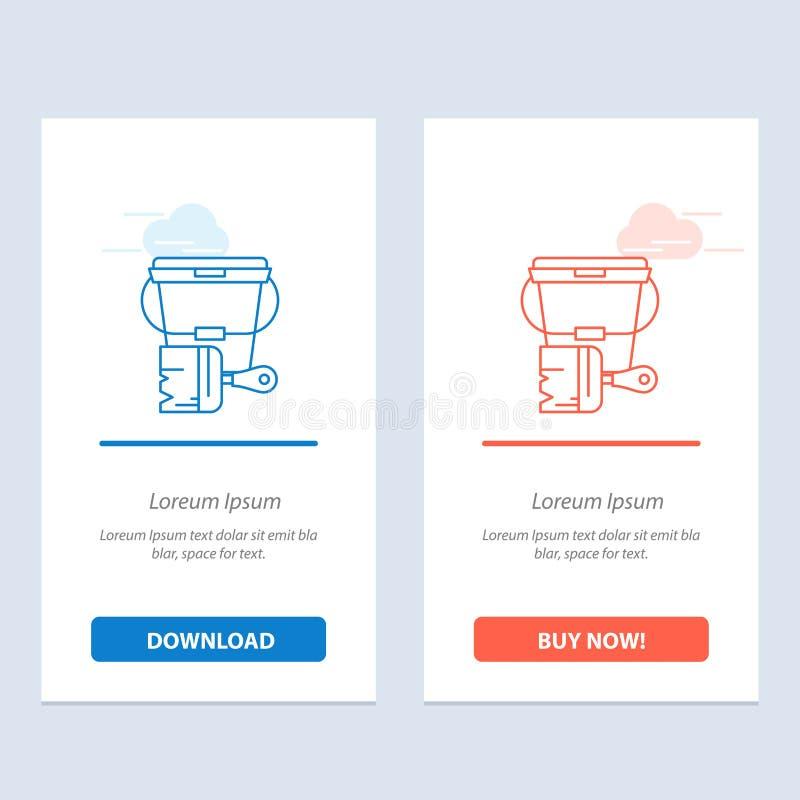 Pintura, cubeta, cor, azul da escova e transferência vermelha e para comprar agora o molde do cartão do Widget da Web ilustração stock