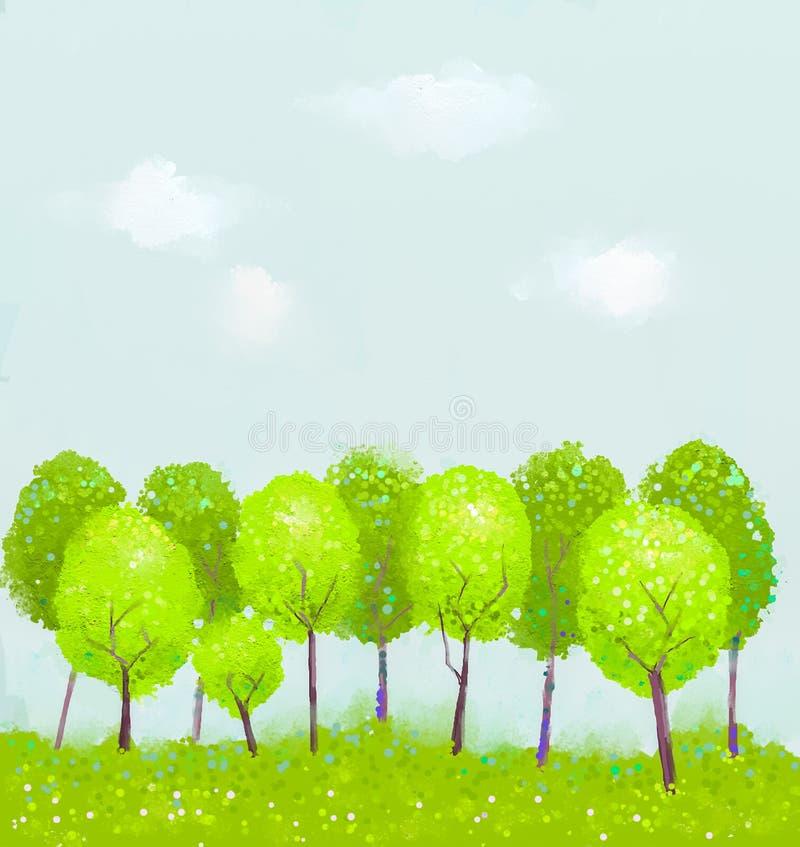 Pintura da árvore da fantasia ilustração royalty free