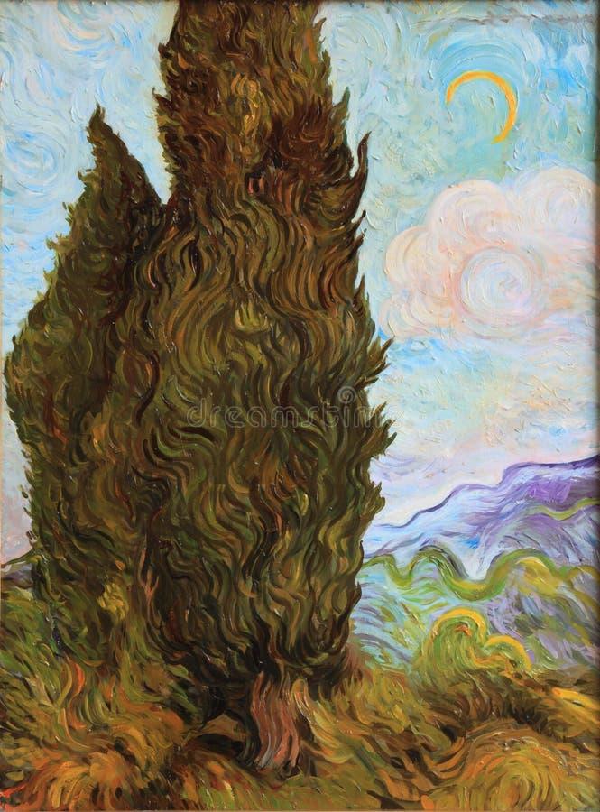 Pintura da árvore de Van Gogh imagens de stock