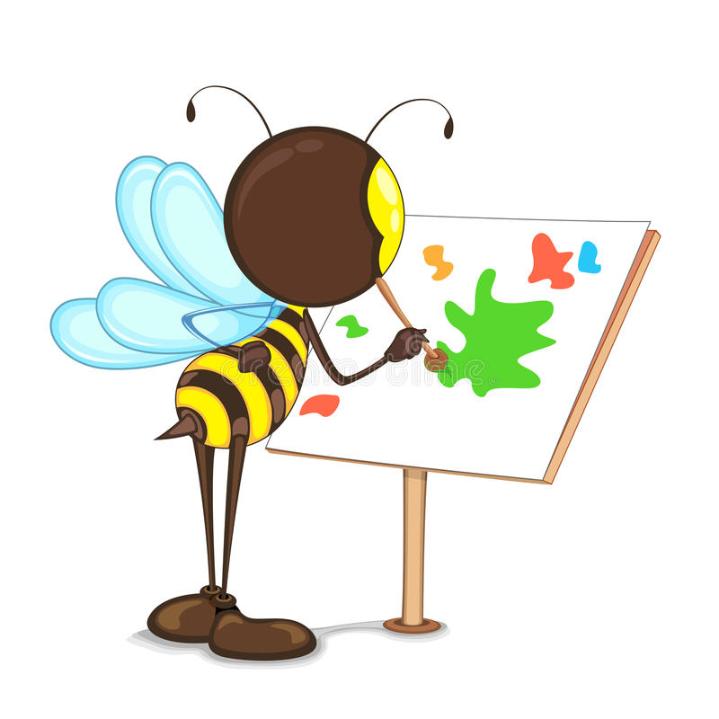 Pintura da abelha na armação ilustração stock