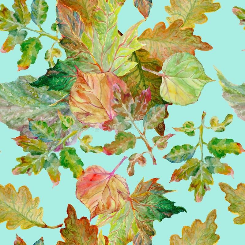 Pintura da aguarela Autumn Leaves ilustração do vetor