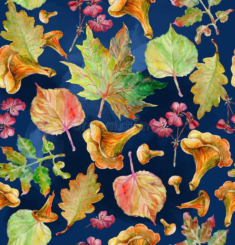 Pintura da aguarela Autumn Leaves ilustração stock