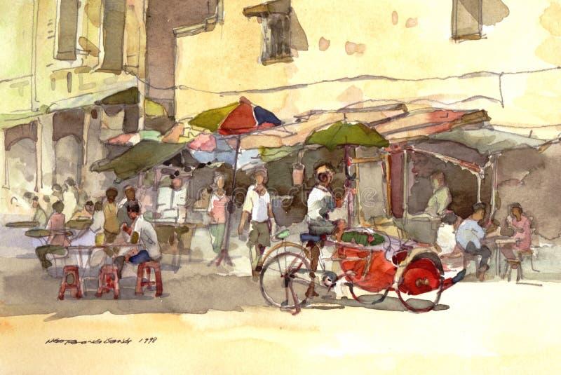Pintura da aguarela do cenário da cidade ilustração do vetor