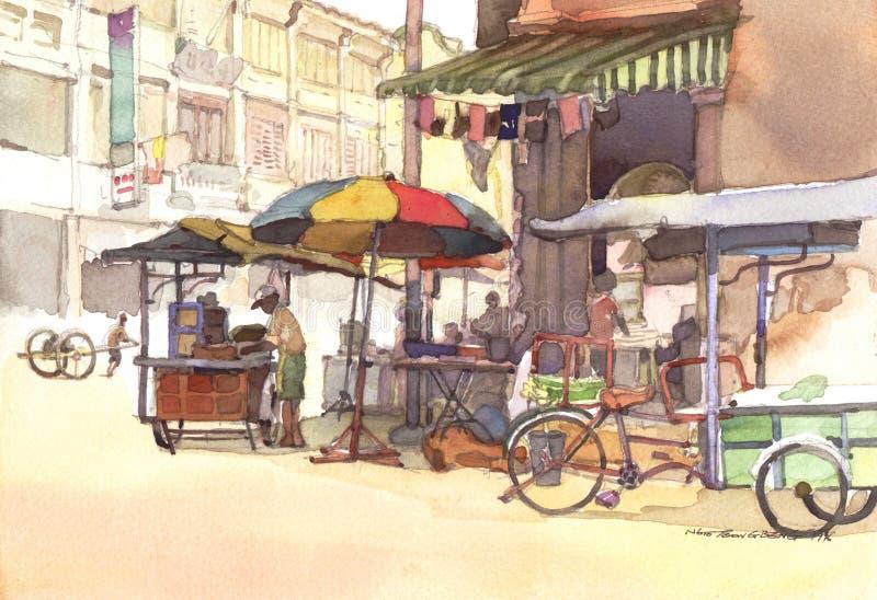 Pintura da aguarela do cenário da cidade ilustração royalty free