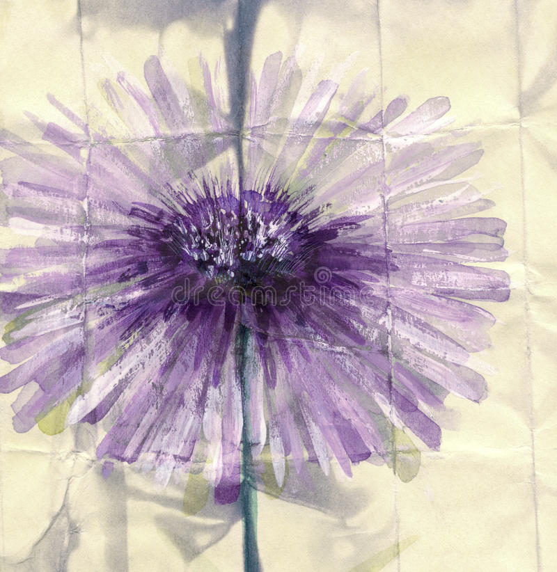 Pintura da aguarela Flor violeta abstrata ilustração stock