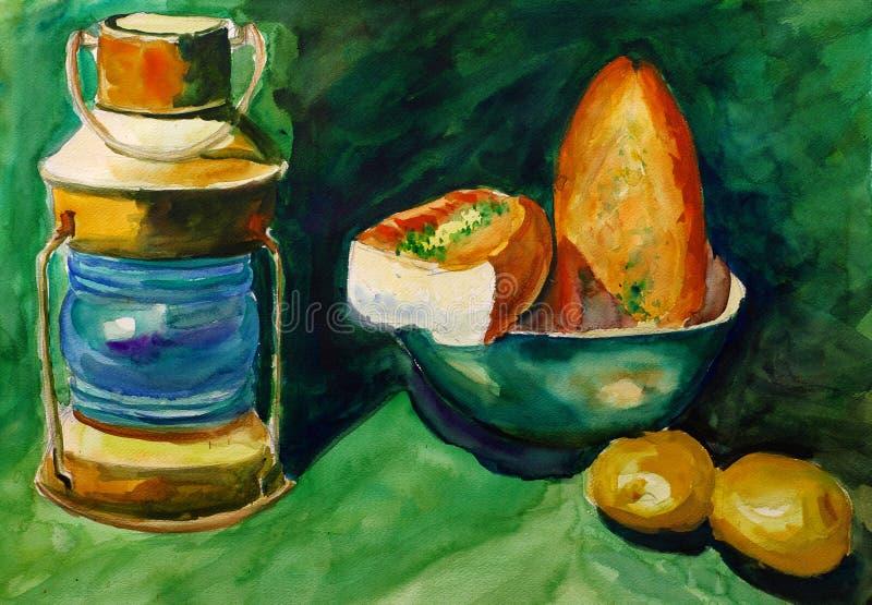 Pintura da aguarela - lâmpada e pão ilustração royalty free