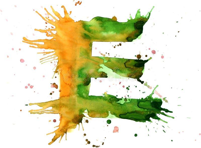 Pintura da aguarela - letra E ilustração stock