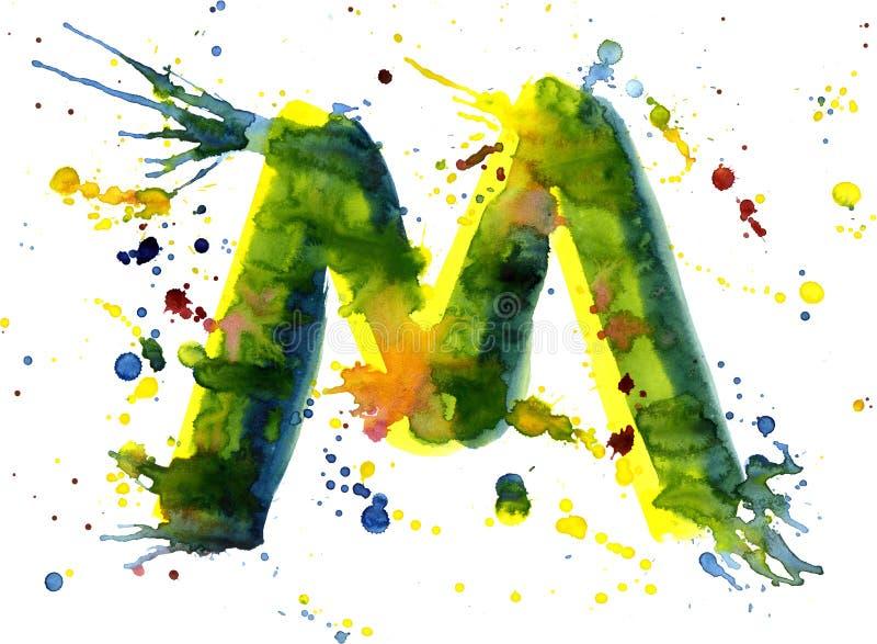 Pintura da aguarela - letra M ilustração stock
