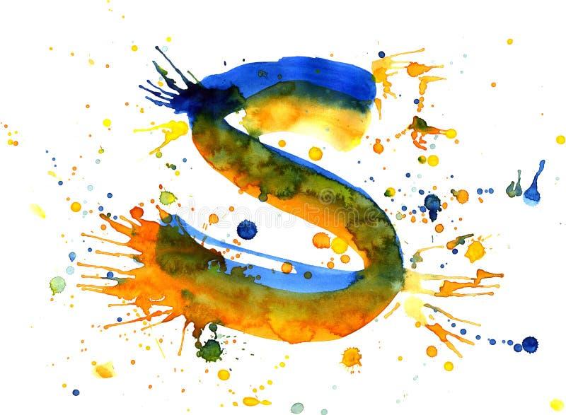 Pintura da aguarela - letra S ilustração royalty free