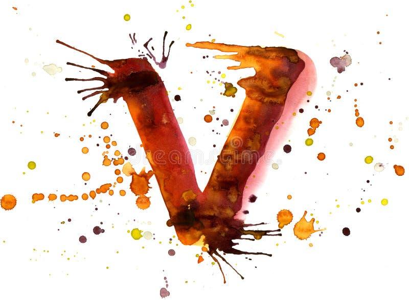 Pintura da aguarela - letra V ilustração stock