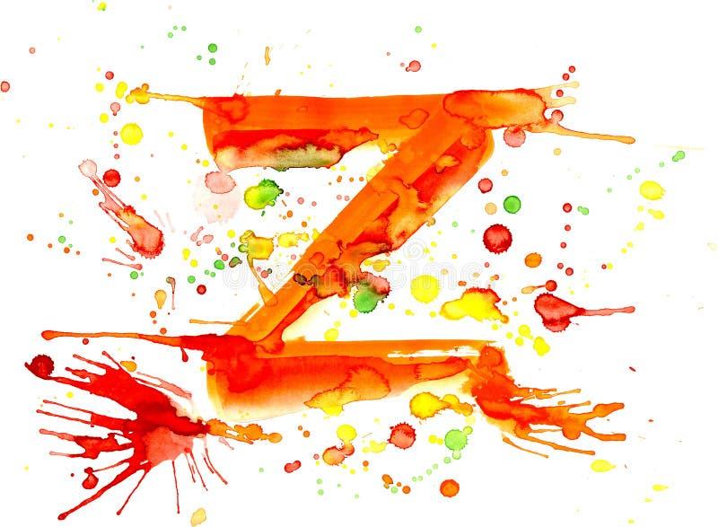 Pintura da aguarela - letra Z ilustração royalty free