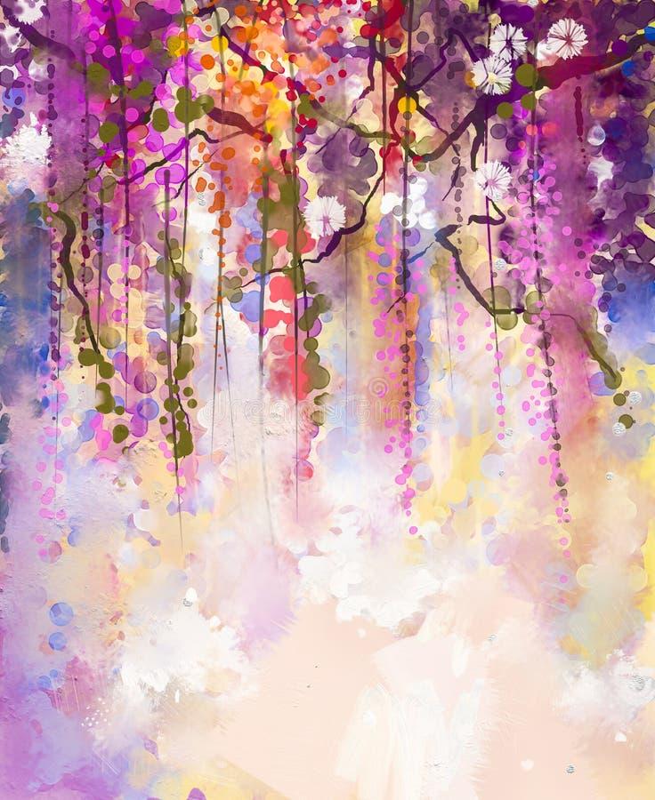 Pintura da aguarela O roxo da mola floresce a glicínia ilustração stock