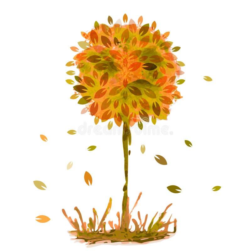 A pintura da aquarela, árvore alaranjada do outono com queda sae em g ilustração stock