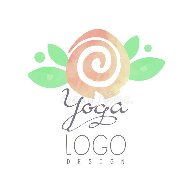 Pintura da aquarela com as folhas delicado-cor-de-rosa da flor e do verde Logotipo original para o centro da classe ou da meditaç ilustração royalty free
