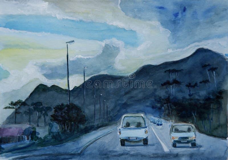 Pintura da aquarela com a estrada em África do Sul ilustração royalty free