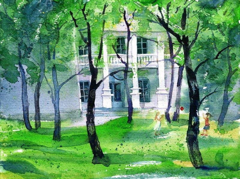 Pintura da aquarela com jogo de crianças e de casa de mansão no fundo Imagem do parque verde na primavera ilustração stock